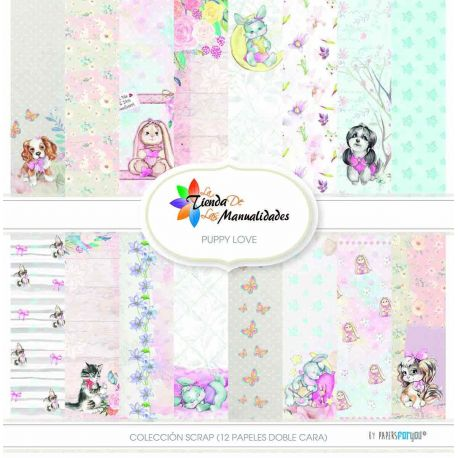 Colección 12 papeles Puppy Love - Papel scrap Papers for You