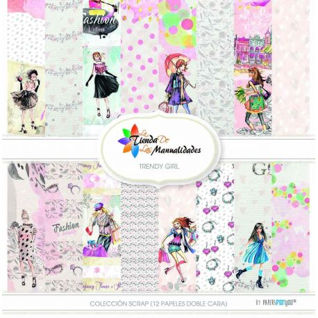 Colección 12 papeles Trendy Girl - Papel scrap Papers for You