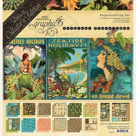 Set de 24 papeles surtidos 30x30 Tropical Travelogue Collector's Edition