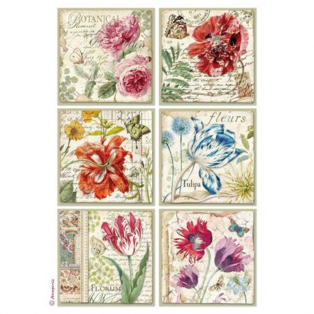 Papel de arroz DinA4 Botanic Flower cards