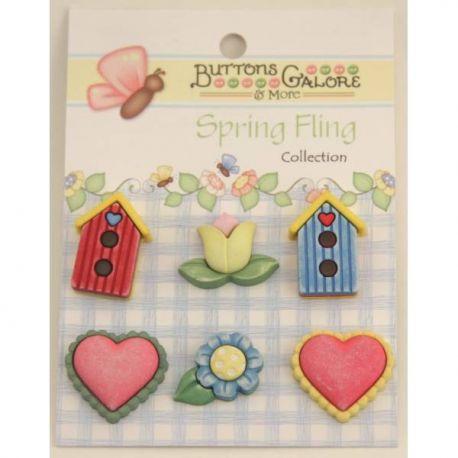Botones Spring Fling casitas y corazones set 6 de botones