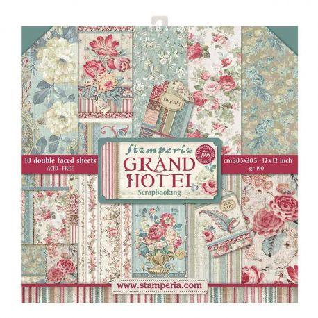 """Bloc Scrap 10 hojas 30.5x30.5 (12""""x12"""") 2 caras Grand Hotel"""