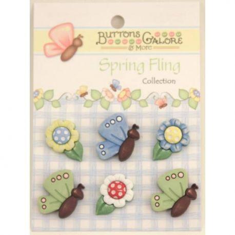 Botones Spring Fling flores y mariposas set de 6 botones