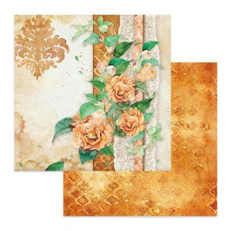 Papel de Scrap Stamperia Flowers for You fondo Ocre