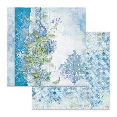 Papel de Scrap Stamperia Flowers for You fondo Azul
