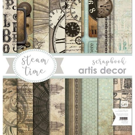 "COLECCION PAPEL SCRAP 12X12"" ARTIS DECOR ""STEAM TIME"" 8 HOJAS"