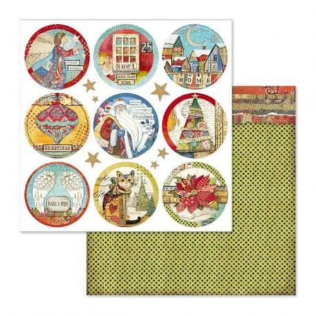 Papel de Scrap Stamperia Christmas Rounds