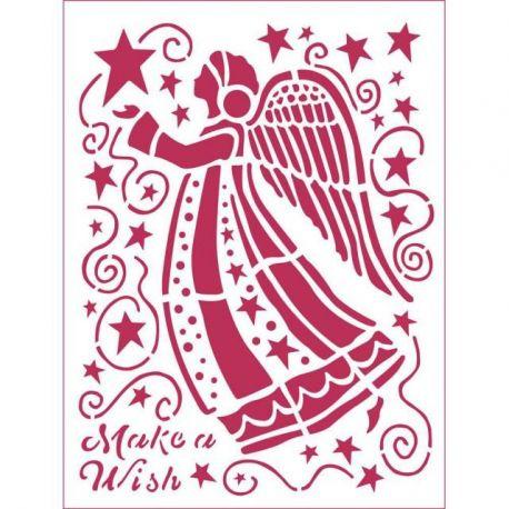 "Stencil 20x15 ""Ángel Make a Wish"""