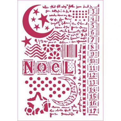 """Stencil 21x29.7cm """"Estrella Luna y escrituras"""" de Stamperia"""