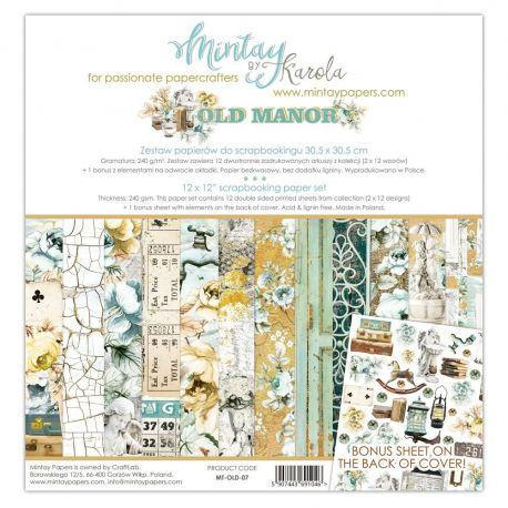 "Mintay by Karola ""Old Manor"" Scrapbooking paper set 30,5 x 30,5"