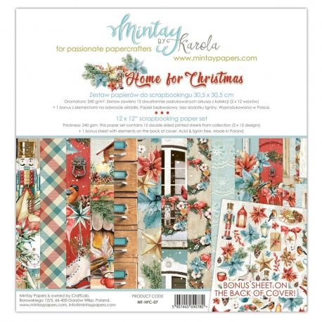 """Mintay by Karola """"Home for Christmas"""" Scrapbooking paper set 30,5 x 30,5"""