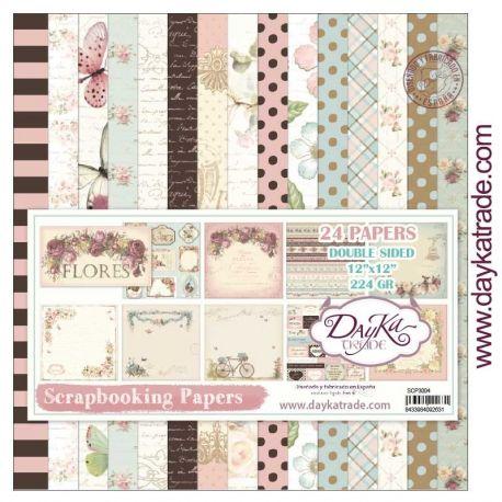 """Kit Scrap 24 hojas """"Colección Flores"""" Dayka 30x30cm"""