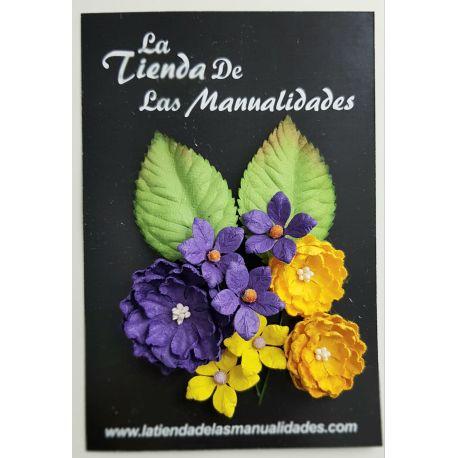 LTM Handmade Flowers - Yellow Violet Variado