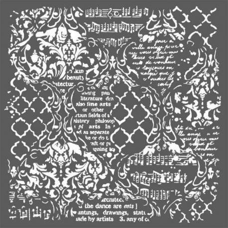 """Stencil Stamperia 30x30cm """"Wallpaper Música y Escrituras"""""""