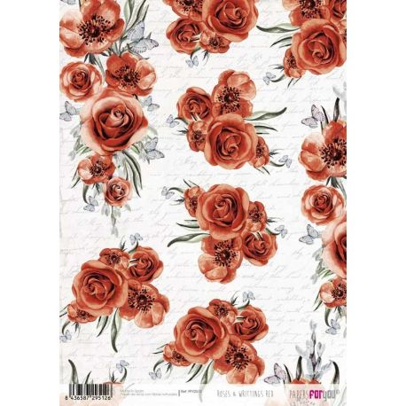 """Papel de arroz 30x21cm """"Roses and Writtings Red"""""""