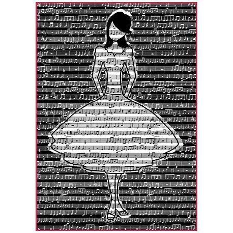 Papel arroz Alta calidad A4 Chica blanco y negro con fondo musical