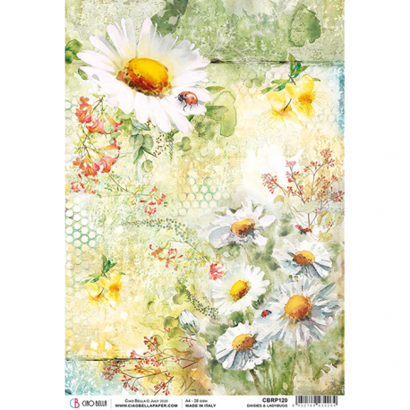 """Papel de Arroz texturizado A4 Piuma - """"Daisies & Ladybugs"""""""