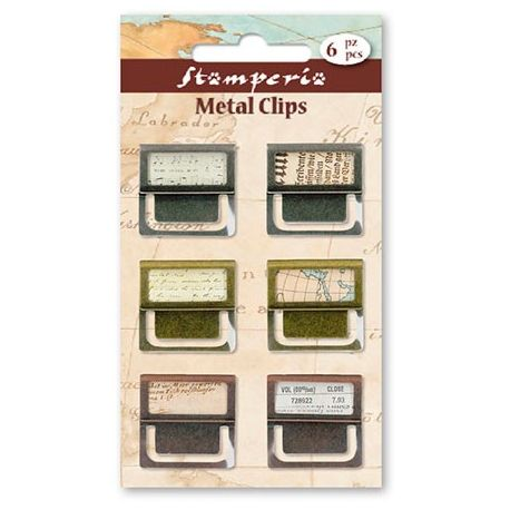 Mini clips de metal 6 piezas Stamperia