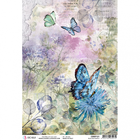 "Papel de Arroz texturizado A4 Piuma - ""Blue Butterfly"""