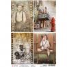 """Papel de Arroz texturizado A4 Piuma - """"Modern Times cards"""""""
