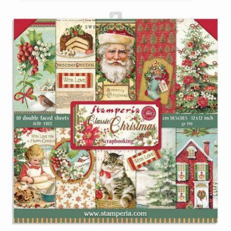 "Bloc Scrap 10 hojas 30.5x30.5 (12""x12"") 2 caras Classic Christmas"