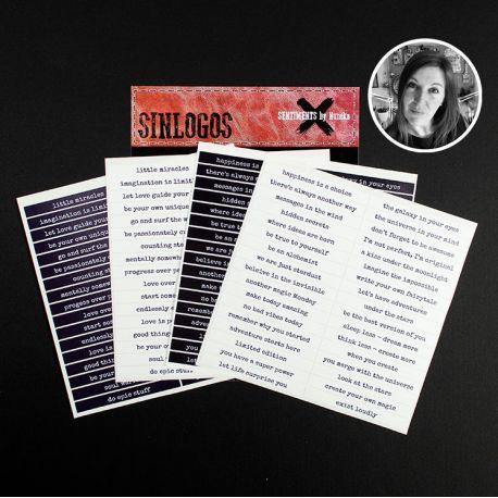 "Stickers ""Sentiments"" by Nuneka - Pack Inglés B/N"