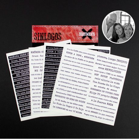"Stickers ""Sentiments"" Sinlogos - Pack Castellano B/N"