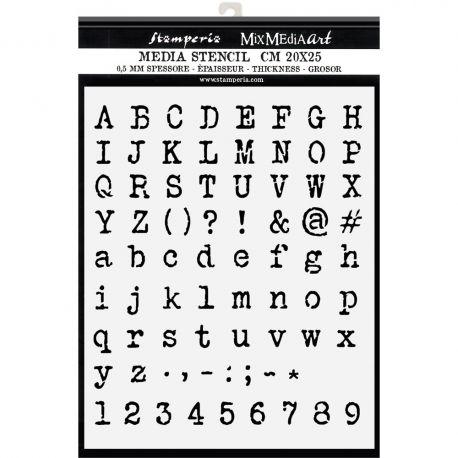 "Stencil Stamperia 20x25cm y 0.5mm de espesor ""Alphabet and Numbers"""