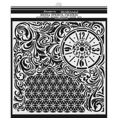 "Stencil Stamperia 30x30cm ""Clock and Texture"""