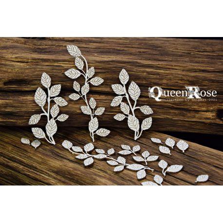Queen Rose – Rose Leaves – Twigs - 11x14cm