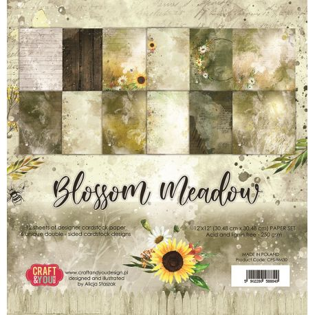 "Colección Blossom Meadow 12""x12"" - Set 12 papeles"