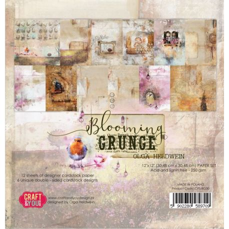 """Colección Blooming Grunge 12""""x12"""" - Set 12 papeles"""