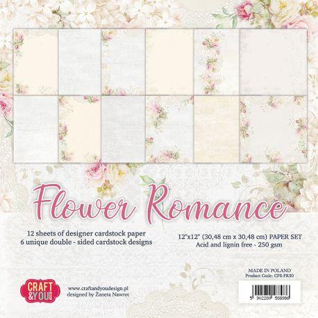 """Colección Flower Romance 12""""x12"""" - Set 12 papeles"""