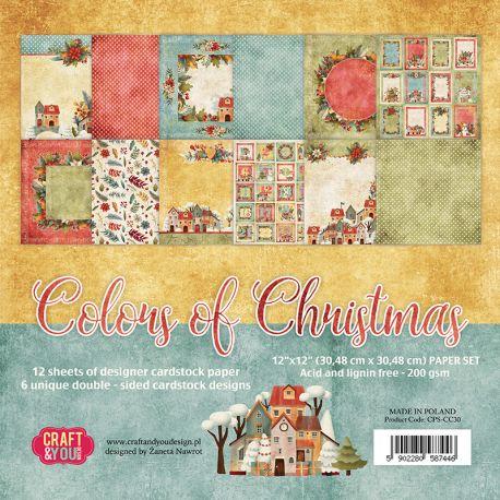 "Colección Colors of Christmas 12""x12"" - Set 12 papeles"