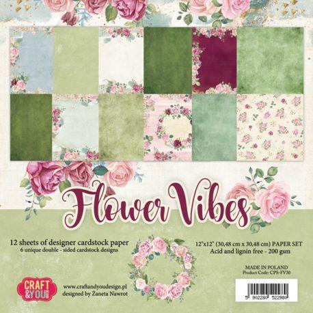 "Colección Flower Vibes 12""x12"" - Set 12 papeles"