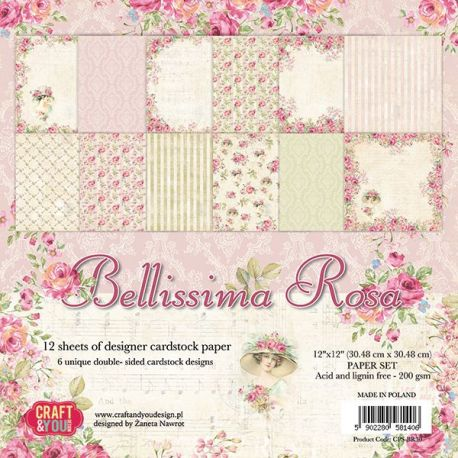 "Colección Bellissima Rosa 12""x12"" - Set 12 papeles"