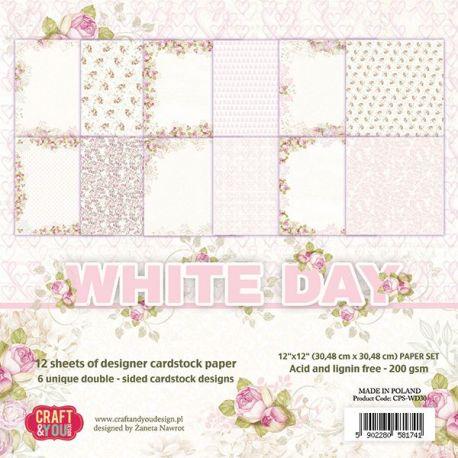 """Colección White Day 12""""x12"""" - Set 12 papeles"""