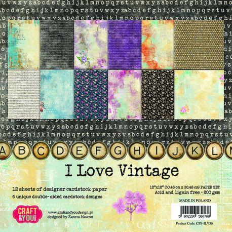 """Colección I Love Vintage 12""""x12"""" - Set 12 papeles"""