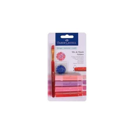 Set 4 gelatos rojos faber castell