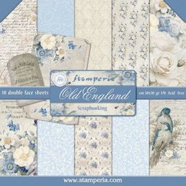 Bloc 10 hojas de papel Scrap Stamperia New England