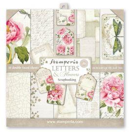 Bloc 10 hojas de papel Scrap Stamperia Letters & Flowers