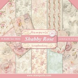 Bloc 10 hojas de papel Scrap Stamperia Shabby Rose