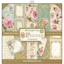Bloc 10 hojas de papel Scrap Stamperia Precious Gift