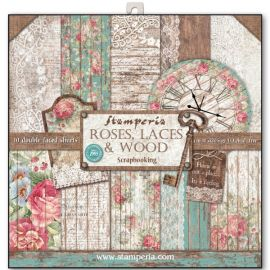 Bloc 10 hojas de papel Scrap Stamperia Roses, lace and wood