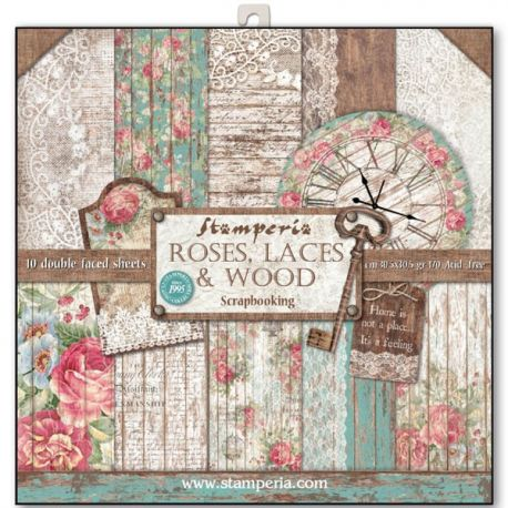 Bloc 10 hojas de papel Scrap Stamperia Roses lace and wood