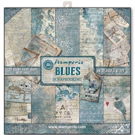 Bloc 10 hojas de papel Scrap Stamperia Blues