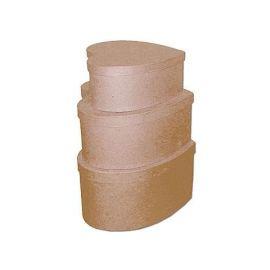 Set de 3 cajas corazón de papel maché 20,22 y 24cm
