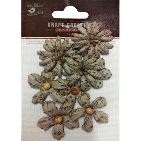 Little Birdie Set de 8 flores de 3cm y 4cm Kraft nº35