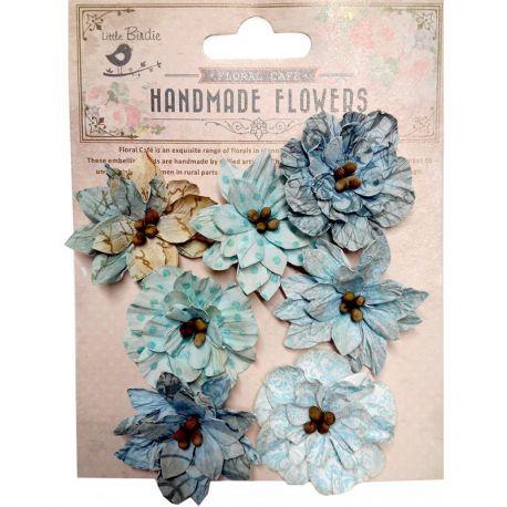 Little Birdie Set de 7 flores de 4cm Azul nº22