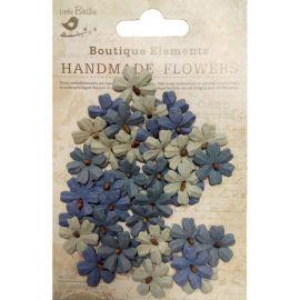 Little Birdie Set de 40 flores de 1.5cm Gris, azul y beige nº32